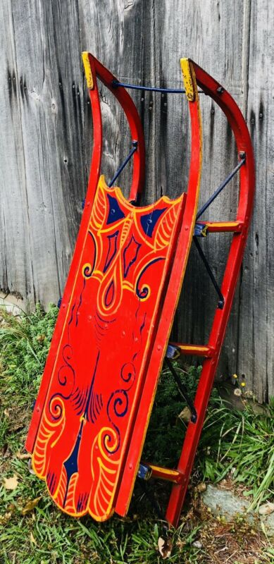 "Antique Colorful Hand Painted Sled Wooden Sleigh / Sled  (46"" x 13"")"