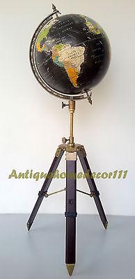 "Vintage Cram's Imperial World Map Globe 12"" Round w/ Antique Finish Tripod Stand"