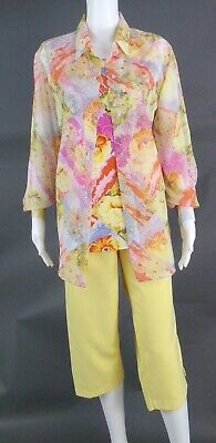 MAGGIE SMITH 3PC YELLOW-MULTI COLOR CROP PANT SUIT - SIZE L  (14)