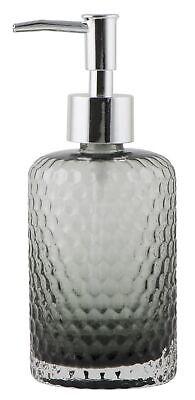 IB Laursen Seifen Spender grau Glas Dosier Pumpe Bad silber für Flüssigseife Neu