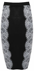 Womens Ladies Contrast Floral Lace High Waisted Bodycon Pencil Skirt Sizes 8-14