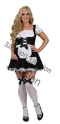 Sexy French Maid Naughty Costume Outfit Hen Party Fancy Dress FREE POST - Bt Halloween Party