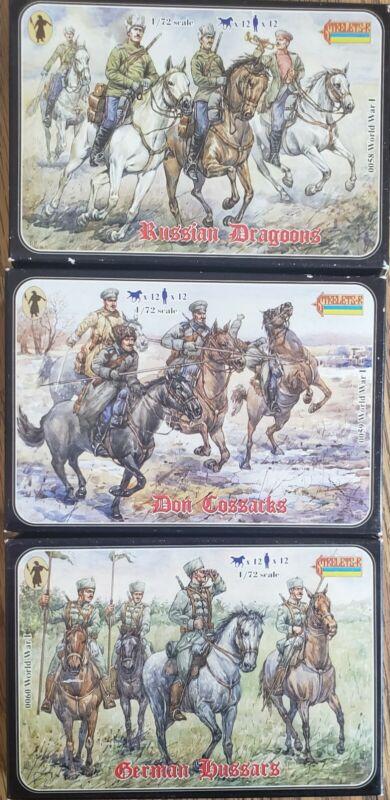 3 Sets - 1/72 Strelets WWI - Russian Dragoons - Don Cossacks - German Hussars