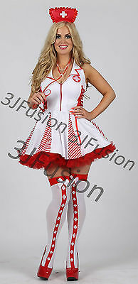 Ladies Sexy White/Red Nurse Costume outfit Hen Party Fancy Dress FREE POST (AR) - Red Nurse Outfit