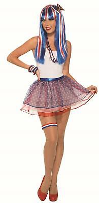 Red, White and Blue Patriotic USA Tutu Skirt 4th of July Accessory Adult](Red White And Blue Tutu)