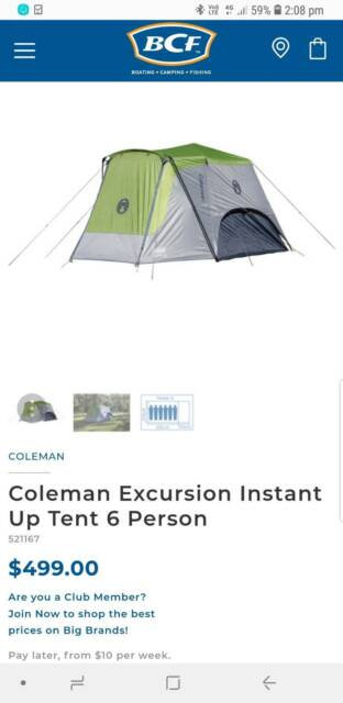 Instant Tents Bcf Coleman Pop Up Instant Tent 4 Person Bcf Hi Res