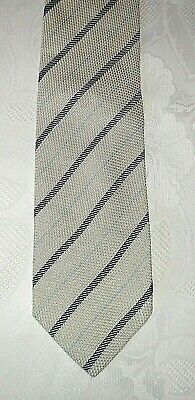 Krawatte Kravatte Binder HUGO BOSS  beige/blau gestreift-100% Seide