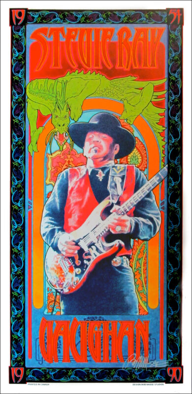 Stevie Ray Vaughan Poster 1990 Artist Edition Hand-Signed Bob Masse includes COA