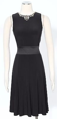 Ralph Lauren Black Cocktail Shift Dress Size 2P Fit And Flare Women's New*