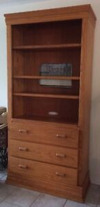 Solid Wood Shelving Unit With Drawers, Adjustable Shelves