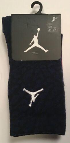 2 Pairs Nike JumpMan Jordan crew Socks Navy & Black $14 Size 3Y-5Y Youth
