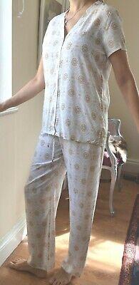 HANRO OF SWITZERLAND SAFARI ORNAMENT SLEEP LOUNGE PANTS BEIGE SET NEW SM