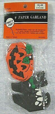 Vintage 9' Black Cats & Jack-O-Lanterns Halloween Paper Garland NIP