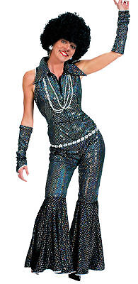 Adult Theme Costumes (Boogie Queen Adult Womens Costume Disco 50s Glitter Theme Party)