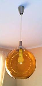 Vintage Glass Amber Pendant Light Golden Grove Tea Tree Gully Area Preview