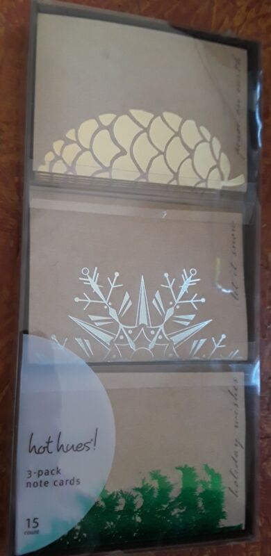 HOT HUES Christmas Foil Art 3up Note Cards by Gartner Studios ~ NEW! 15 Count