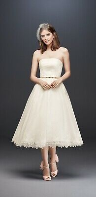 Tea Length Lace & Polka Dot Tulle White Wedding Dess by Galina sz 10 Unaltered Polka Dot Wedding Dress