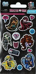 3 Sticker Sheets | MONSTER HIGH PUFFY | Party Bag Filler Fillers Stickers