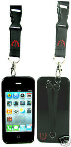 NEW! IPHONE 4/4S CASE WITH HAND AND NECK STRAPS - BLACK - PURPLE