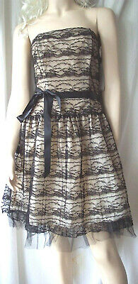 La Belle black lace strapless boned prom party dress size 10 rockabilly pin up