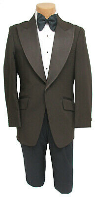 Mens Vintage Brown Tuxedo Jacket & Butterfly Bow 1970's Prom Wedding Costume (Mens Butterfly Costume)