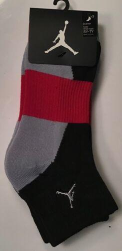 3 Pairs Nike JumpMan Jordan Quarter Socks $16 Size 5Y-7y Youth Black Red Grey 23