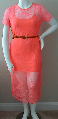 Angela Plus Floral Stretch Sheer Lace Belted Layered Slip Dress Pink 1XL 2XL 3XL Sheer Stretch Slip