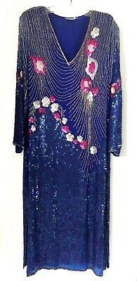 Royal Blue And Pink (Vintage Royal Blue Sequin and Beaded Dress Lined Shoulder Pads Mesh Pink)