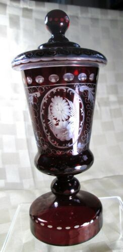 """EGERMANN 9"""" TALL Ruby RED etched cut to clear covered JAR, ferns flowers, Czech"""