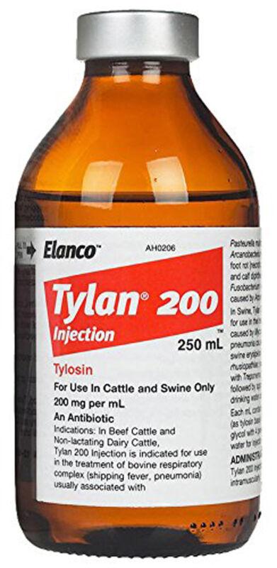 Tylan 200 250ml Antibiotic for Beef Cattle Dairy Cattle Swine Elanco