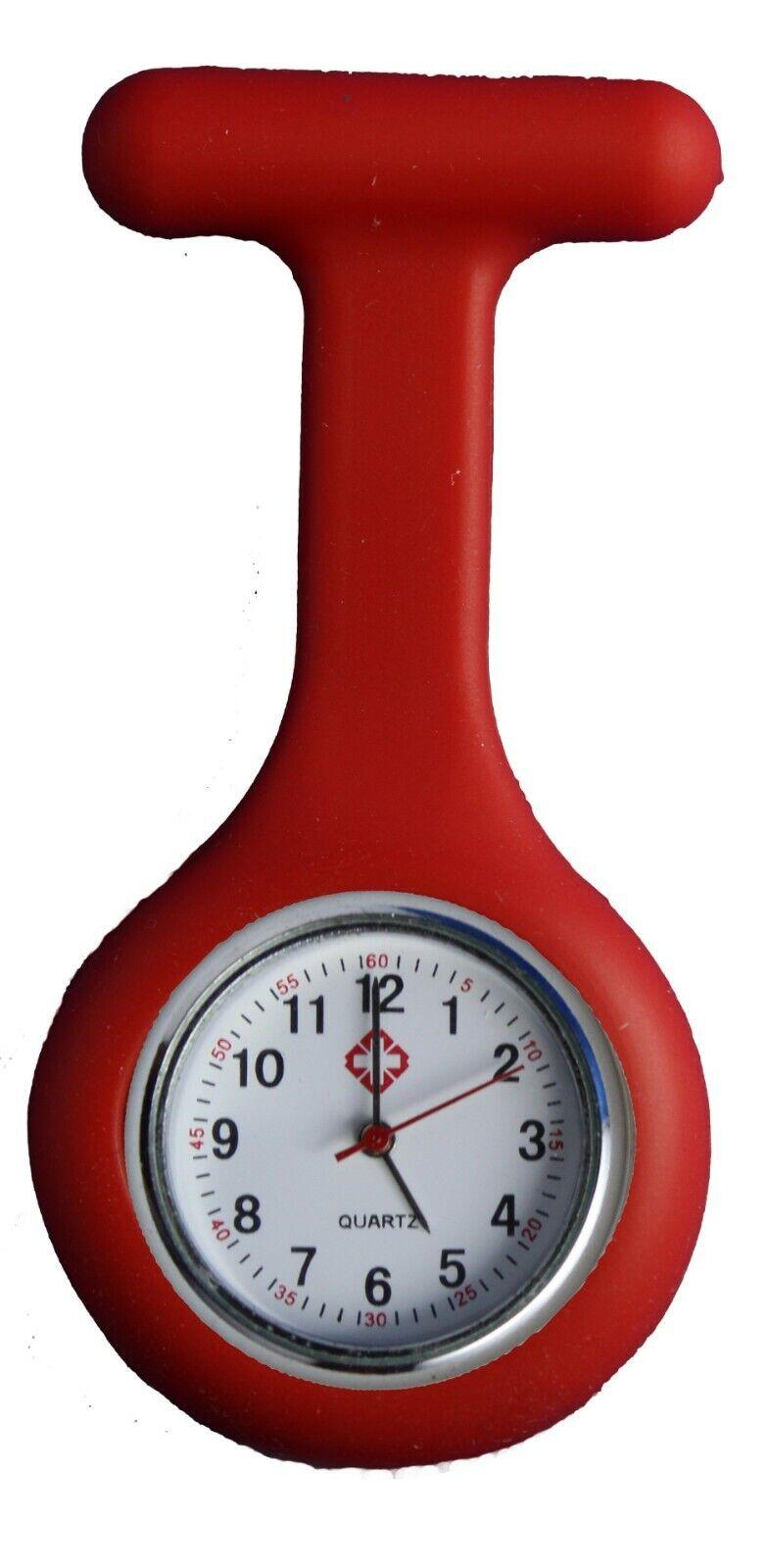 Krankenschwesteruhr Nurse Watch Silikonhülle Kittel Pflege Quarz uhr Puls Rot