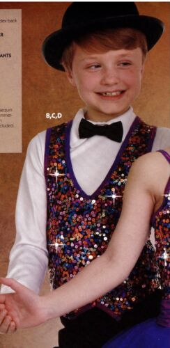 NWOT Sequin Pullover Dance Costume Vest Purple Foil Trim Intermediate Child