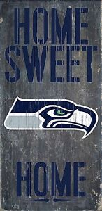 """Seattle Seahawks """"Home Sweet Home"""" Wood Sign (New)"""