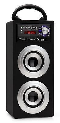 ALTOPARLANTE BOX MONITOR SISTEMA STEREO USB MP3 FM RADIO SD PORTATILE ARGENTO