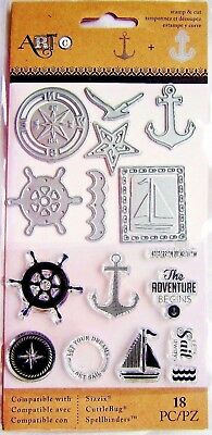 Nautical Clear Sailing Stamp And Die Set By Momenta Art C 25893 New