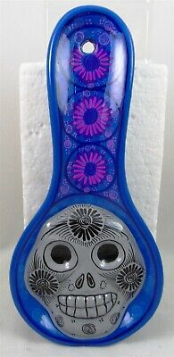 Day of the Dead SUGAR SKULL SPOON REST holder BLUE kitchen decor Mexican B001