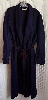 POLO RALPH LAUREN Saks Fifth Avenue Vintage Navy Blue Wool Bath Robe Men's Sz M