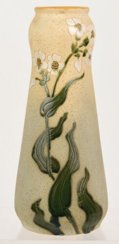 """ROSEVILLE POTTERY ROZANE WARE WOODLAND 9"""" TALL VASE WITH WAFER"""