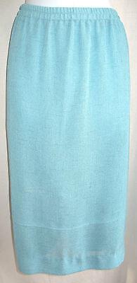 (DONNA RICCO Aqua Woven Fabric Pencil Skirt Sz 32W Lined Elastic Waist Back Slit)