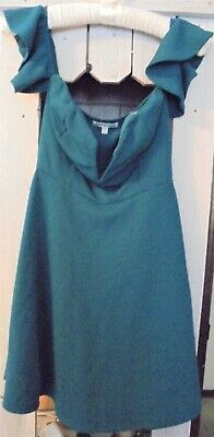 Charlotte Russe Dress Size Xs Teal With Ruffled Sleeve Cold Shoulder Ladies