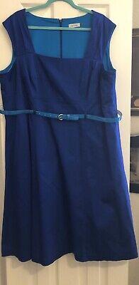 Fabulous Calvin Klein Blue Dress With Matching Belt Size 20 W