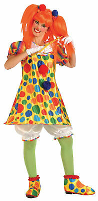 Clown Giggles Adult Women's Costume Colorful Polka Dots Halloween Fancy Dress](Giggles Adult)