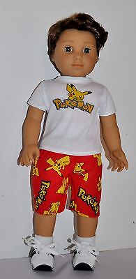 DOLL CLOTHES CUSTOM MADE FOR AMERICAN GIRL DOLL LOT- BOY POKEMON SHORTS SET - $11.69