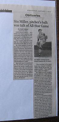 Obituary Boston Globe 1 7 2015 Stu Miller 87  Giants Pitcher All Star Game 1966
