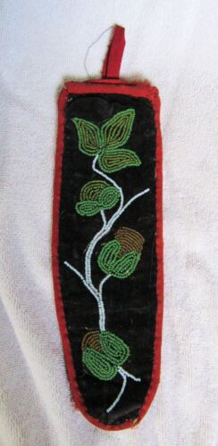 Cree Indian Beaded Beads Beadwork Knife Sheath Pouch Floral Poppy Design
