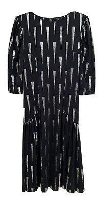 80s Dresses   Casual to Party Dresses Womens 1980's Vintage Black And Silver Dress Size 10 $29.02 AT vintagedancer.com