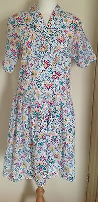 Vintage Dress with Multi Coloured Floral Print Size 14 by Canada C&A VGC