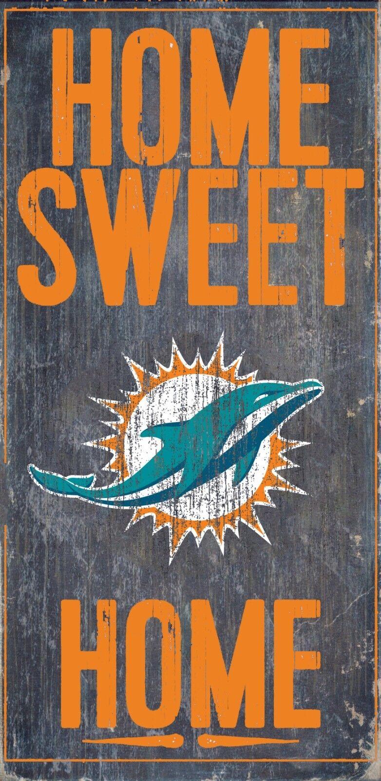 Miami Dolphins Heim Süss Holz Zeichen - Neu 15.2cm x 30.5cm Wand Deko Geschenk