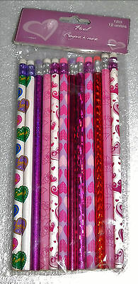 Valentines Hearts Pencils Set 12 Pink Red Purple Candy Roses Sparkly Holiday
