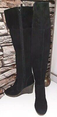 Kelsi Dagger Brooklyn Women's Black Leather(Suede) Knee Boots Wedge Size 4.5